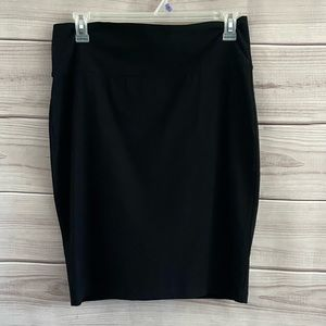 Eileen Fisher Black Pull On Stretch Fitted Skirt